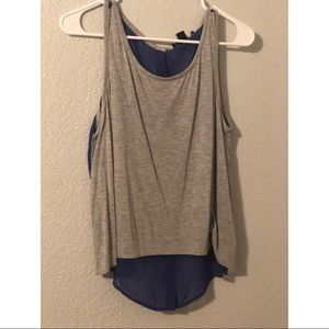 Gray and Blue High Button Back Low Tank